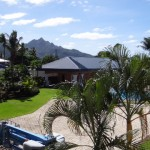 Blick von meinem Hotelzimmer im Tradewindhotel auf Samoa wo ich erst mal gestrandet bin und auf gutes Streckenwetter durch die Intertropikale Konvergenzzone warten muss