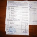 Die vorerst auf 400 $ ausgestellte Depositrechnung fuer den Zoll, damit ich ueberhaupt vom Flugplatz raus gekommen bin