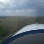 Anflug auf Rapid City Airport bei einsetzendem Gewitter und heftigen Winden