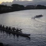 Auslegerbootrennen in der Bucht des Hafens von Apia